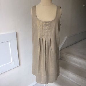 Kenzie Metallic Gold Pleat Neckline Linen Dress